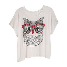 Owl with Glasses Tee found on Polyvore