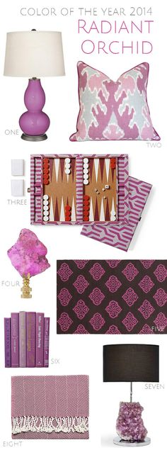Examples of home furnishings channeling the Radiant Orchid shade. #hotlooks