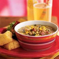 This quick, fiber-packed soup is a terrific way to use fresh corn. Add a slight kick with a sprinkle of Monterey Jack cheese with jalapeno peppers just before serving.