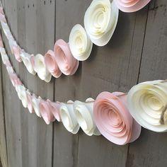Paper flower garland pink & cream Wedding by BellaLunasFlowers