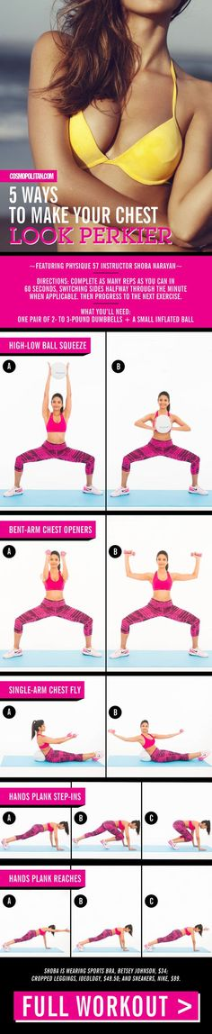 For perkier breasts, start practicing these moves, demonstrated by Physique 57 instructor Shoba Narayan. All you need is one pair of 2- to 3-pound dumbbells and an inflated playground ball (or small Swiss ball).