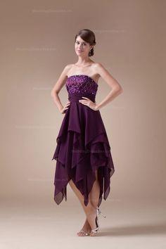 Fabulous Strapless Delicate Detailed Bodice Asymmetrical Hemed Dress