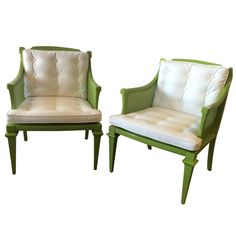 Hollywood Regency Tufted Armchairs | From a unique collection of antique and modern armchairs at https://www.1stdibs.com/furniture/seating/armchairs/