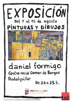 Cartel publicitario para exposición agosto 2012 Centro social Carmen de Burgos de Rodalquilar.