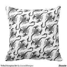Tribal Scorpion Art Throw Pillow