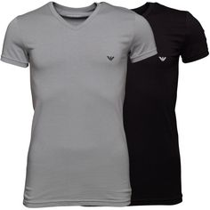 dbf37c239a8a Emporio Armani Mens Two Pack T-Shirt Black Grey Emporio Armani two pack v