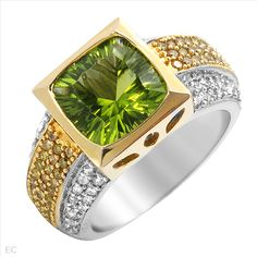 $1,109.00  Dazzling Brand New Ring With 4.95ctw Genuine  Clean Diamonds and Peridot in 14K Two tone Gold. Total item weight 10.4g - Size 5 - Certificate Available.