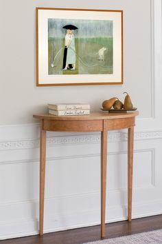 Cherry Demilune by Tom Dumke. Shaker styling meets modern sensibility in this solid cherry wood table. Elegant in an entry or hallway, it is perfect for displaying other works of art.