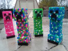 3d Perler Minecraft Creeper - I think Noah could make these