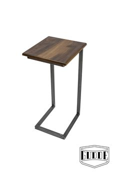 """Modern C-Table (or """"Sea Table"""") with Raw Steel. Exotic Hardwood Imbuia top. Handmade in Austin, TX by Gudde Co."""