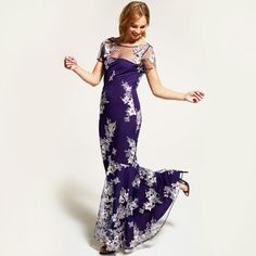 Purple embroidered cowl back maxi dress