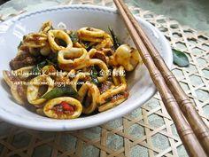 Malaysian Kam Heong Squid Stir-fry Recipe ~ 金香炒鲜鱿