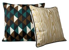 The Triangle toss pillow and the Wood Grain toss pillow from the Patch NYC collection for Target!