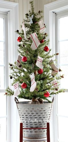 small christmas tree olive bucket grain sack stockings tabletop tree country christmas - Christmas Decorations For Small Trees