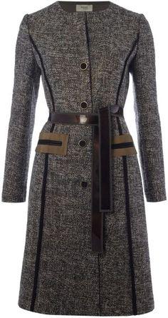 Tweed Coat with Tie Waist - Lyst