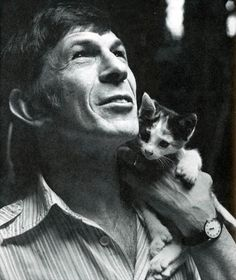 leonard nimoy with a kitten. life is perfect.