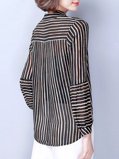 Casual Chiffon Stripe Irregular Long Sleeve Stand Collar Women Blouses look not only special, but also they always show ladies' glamour perfectly and bring surprise. Winter Blouses, Winter Shirts, Cheap Blouses, Blouses For Women, Ladies Blouses, Elegant Style Women, Casual Skirt Outfits, Blouse Outfit, Chiffon Shirt