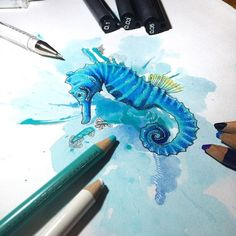 """""""Found this incredible sea horse on my tag, brilliant work! Tag Art, Sci Fi, The Incredibles, Horses, Draw, Gallery, Instagram, Science Fiction, Roof Rack"""