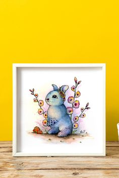 Original art, watercolor painting, hand painted, illustration, surrealism, Easter, perfect gift, animal art, fantasy, whimsical, colorful, home decor, floral Watercolor Paper, Watercolor Paintings, Circus Characters, Cute Easter Bunny, Animal Decor, Ink Painting, Watercolor Illustration, All Art, Gifts For Kids