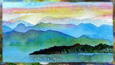 Watercolor Painting Demo Imaginary Landscape, Watercolor Sunset Part 2