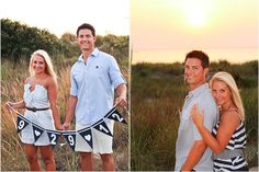 Country Nautical Engagement, couple holding date banner, couple pose