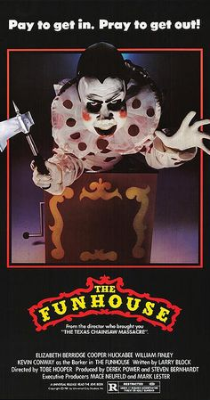 Directed by Tobe Hooper. With Elizabeth Berridge, Shawn Carson, Jeanne Austin, Jack McDermott. Four teenage friends spend the night in a carnival funhouse and are stalked by a deformed man in a Frankenstein mask. Best Horror Movies, Classic Horror Movies, Horror Films, Scary Movies, Horror Art, 1980's Movies, Clown Horror, Horror Costume, Horror Fiction
