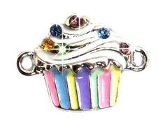 Undee Bandz Rubbzy Rhinestone Rubber Band Bracelet Charm Cupcake
