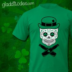 St. Paddy Sugar Skull St. Patrick's Day T-shirt. (with or without beer bottles!!)