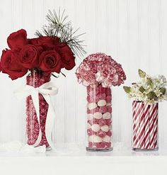 Use Christmas Candy as Vase Fillers for centerpieces.