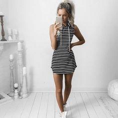 Yucheer Mini Vestido Rayas Ocasional  para Mujer  - Negro blanco