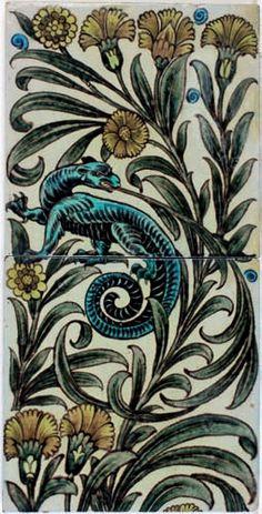 William De Morgan tile panel. Catleugh collection. Art Tiles, Mosaic Tiles, Craftsman Tile, Pre Raphaelite Brotherhood, Victorian Tiles, Persian Pattern, Art Nouveau Tiles, Lifelong Friends, Panel