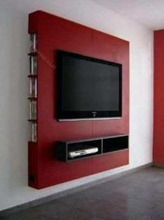 Mueble Panel Lcd / Tv / Led - Modular - Mesa De Tv Would definitely do a different color, but love this Powerful Cool Ideas: Floating Shelves Living Room Around Tv floating shelf display photo ledge.Floating Shelf Tv Stand Ideas floating shelves un Tv Unit Design, Tv Wall Design, Tv Moderna, Panel Lcd, Rack Tv, Floating Cabinets, Floating Shelf Decor, Floating Wall, Tv Wall Decor