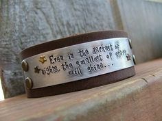 Even In The Darkest Of Nights, The Smallest Of Stars Will Shine 2 Inch Leather Cuff Bracelet with Custom Hand Stamped Metals by MyBella (click for more #shine art)
