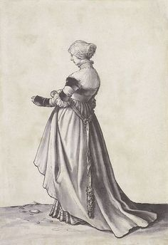 Basel Woman Turned to the Left, Costume Study by Hans Holbein the Younger, 1523