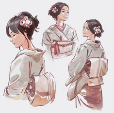 ArtStation - Line work practice, Mitch Mohrhauser Character Drawing, Character Illustration, Illustration Art, Character Concept Art, 3d Character, Anime Kimono, Concept Art World, Sucker Punch, Poses References
