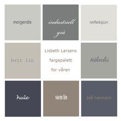 Hvit lin, varm lin, hule, blå harmonia, tåkedis, morgendis, industriell grå, refleksjon