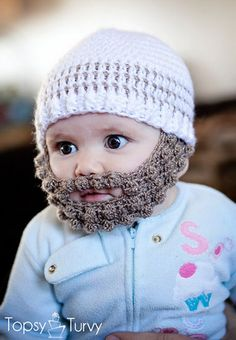 Free pattern for a crochet bobble beard to attach to your favorite beanie, in sizes extra small, small, medium and large. Linked to a free multi-sized beanie pattern. Because who doesn't lov a crochet beard hat! Crochet Beard, Crochet Diy, Crochet Crafts, Crochet Projects, Fun Projects, Knitted Beard, Funny Crochet, Crochet Baby Boy Hat, Unique Crochet