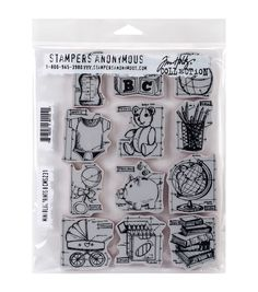 Stampers Anonymous Tim Holtz Mini Blueprints #8 Cling Rubber Stamp Set