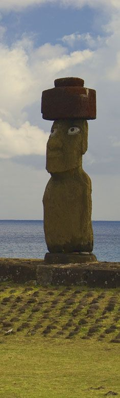The only original statue on Easter Island that has both topknot and eyes. The eyes are not original but show how all the Moai must have appeared once. You can see this Moai at Tahai on the edge of town. Making Excuses, Easter Island, 45 Years, Top Knot, Just Do It, Archaeology, Statues, Monument Valley, Chile