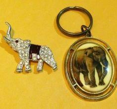 Elephant Rhinestone Pin and Decorative Keychain Fashion Jewelry Lot | eBay