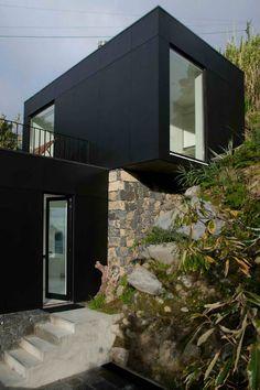 Hillside Ruins Turned Modern Black and White Residence   Designs & Ideas on Dornob