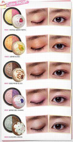 Field of Tulips: Etude House Sweet Recipe Collection Asian Make Up, Korean Make Up, Eye Make Up, Sweet Makeup, Cute Makeup, Makeup Looks, Retro Makeup, Etude House, Lila Eyeliner