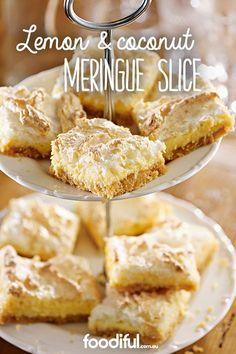 Lemon and coconut meringue slice - Try the favourite dessert, lemon meringue pie, in slice form! With a biscuit base, condensed milk, - Lemon Recipes, Pie Recipes, Sweet Recipes, Baking Recipes, Dessert Recipes, Halal Recipes, Best Lemon Meringue Pie, Lemon Meringue Cheesecake, Italian Meringue