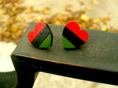 African-American Flag colored wooden heart shaped post earrings on Etsy, $15.00