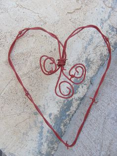 Rustic Barbed Wire Heart Valentine Red by kansascottongirls