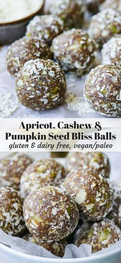 Tasty nutritious apricot, cashew pumpkin seed bliss balls are so easy to make. Gluten free, dairy free, no added sugar, high protein. Recipe via nourisheveryday.com