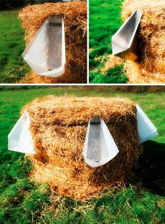 Thus L'Uritonnoir by Faltazi, a flat-pack urinal: composing straw bale for outdoor events.