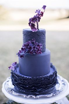 Deep Purple Wedding Cake