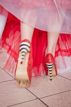 Love these shoes! They're like Dorothy and the Wicked Witch all rolled up into one awesome shoe. #heels #thewizardofoz