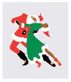 """Black Santa dancing """"The Tango"""" with Mrs Klaus"""
